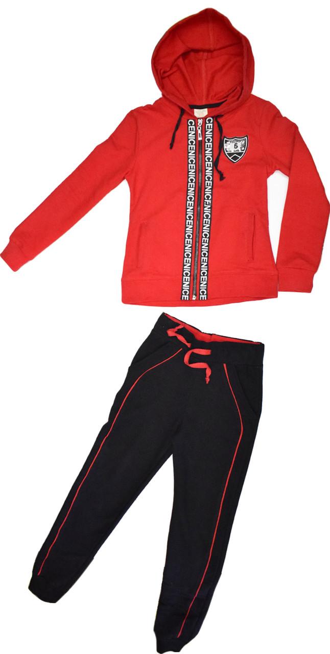 Костюм спортивный на девочку ТМ MG&T KIDS красный черный размер 128 140