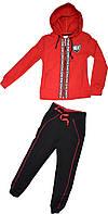 Костюм спортивный на девочку ТМ MG&T KIDS красный черный размеры 128 140 152