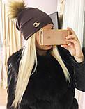 Женская шапка с мехом, фото 3