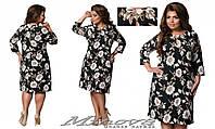 Платье  женское нарядное с цветами  тл356 , размеры 50-56, фото 1