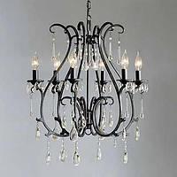Люстра в стиле модерн, украшенная кристаллами с лампами, стилизованными под свечи 00358697