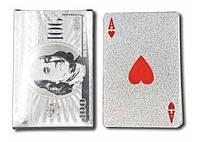 Пластиковые игральные карты серебро