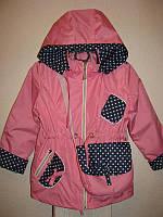 Ветровка-парка Марийка для девочки р.104,110,116,120 на трикотажной подкладке осень весна лето розовая