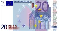 """Деньги сувенирные """"20 евро"""". В упак: 80 шт."""