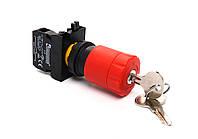 """Кнопка """"грибок"""" аварийная с ключом d = 30мм c фиксацией и возвращения поворотом (1НЗ) - пластик IP65"""