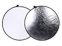 Фото рефлектор - отражатель 2 в 1 диаметром 80 см (белый - серебряный)
