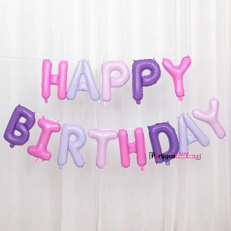 Гірлянда з повітряних кульок букв в ніжних відтінках happy birthday