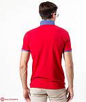 Стильная мужская футболка-поло  воротник и рукава декорированы машинной вышивкой, фото 2