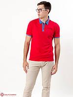 Модная молодежная мужская футболка-поло с вышитым воротником