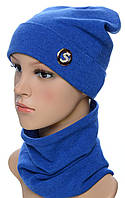 Набор женский TRK1701 шарф размер 26*25 см и шапка с отворотом украшение (деми)