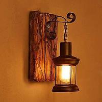 Одна голова промышленного сбора винограда ретро деревянные металл покраска цвет настенный светильник для настенного светильника Дом / 05456596