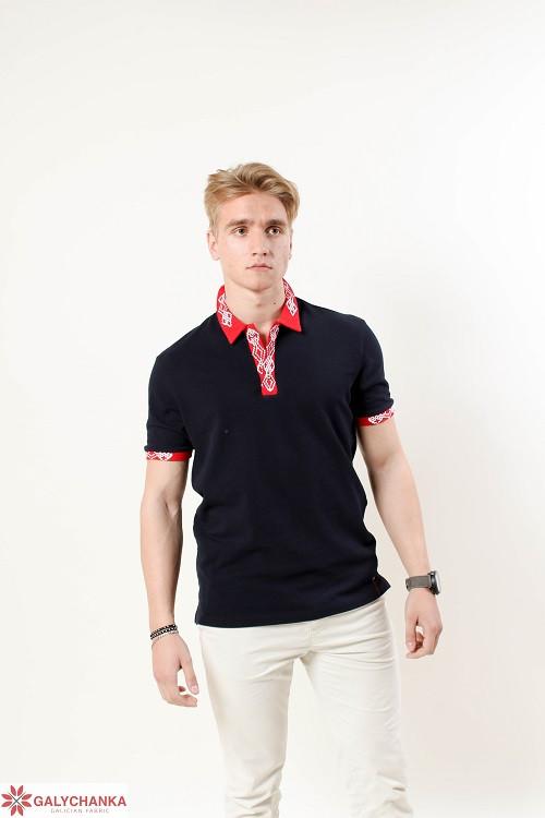 Мужская футболка поло в черном цвете с красным вышитым воротником