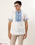 Праздничная мужская сорочка из льна с коротким рукавом машинная вышивка крестиком, фото 2