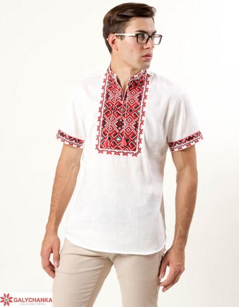Праздничная мужская сорочка из льна с коротким рукавом машинная вышивка крестиком