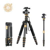 Штатив фирмы QZSD для фотоаппаратов - Q-666C (Q666C) + головка QZSD-02 (материал - карбон (углеродное волокно), фото 1