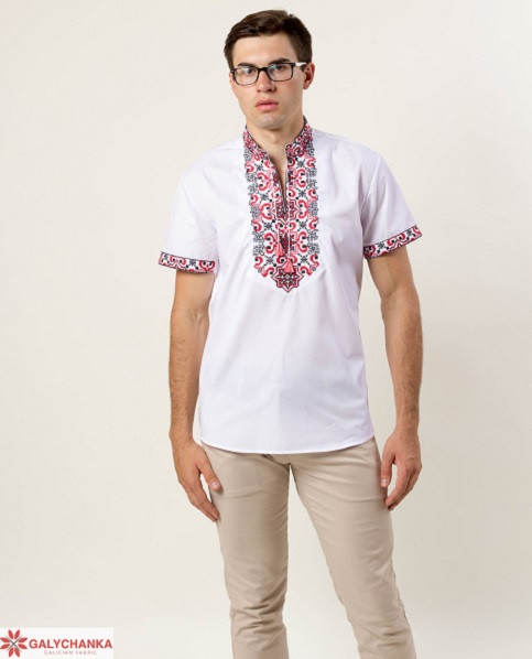 Белая хлопковая сорочка вышиванка с коротким рукавом
