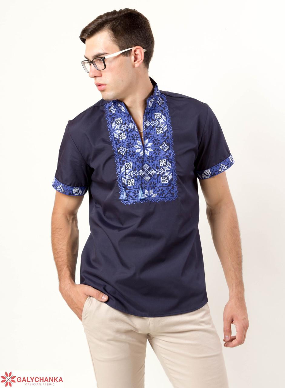 Праздничная мужская сорочка вышиванка из хлопка с синим орнаментом