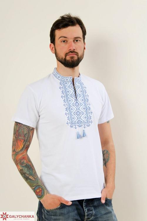 Белася мужская футболка из высококачественного трикотажа  с  синим орнаментом