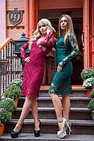 Нарядное приталенное платье из дорогого кружева 3103181