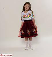 Праздничная вышитая блуза для девочек рукав 3/4 с полевыми цветами