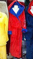 Красивый махровый мужской халат с поясом в расцветке