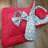 Кокон + ортопедическая подушка + Конверт плед на выписку, фото 1