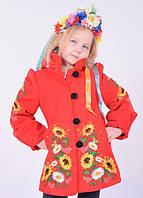 Милое кашемировое пальтишко для девочки с вышитыми полевыми цветами