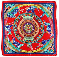 Женский очаровательный платок, атлас, 58х58 см, Trаum 2496-44, разноцветный.