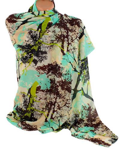Яркая женская шифоновая шаль-парео, 150х100см, Trаum 2497-01, цвет бирюзовый.