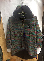 Кардиганподростковый с капюшоном для девочки 9-11 лет,разноцветный