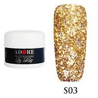 Гель Star Shine №3 (бледно золотистый) Adore Professional, 5 мл