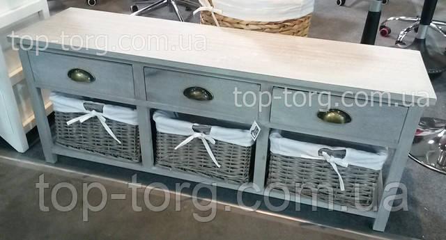Комод в стиле прованс с плетеными корзинками и выдвижными ящиками