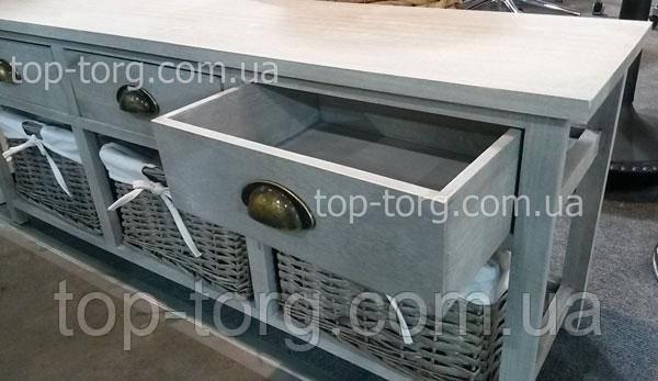 Выдвижные ящики комод Village white wash 3D серого цвета с корзинками