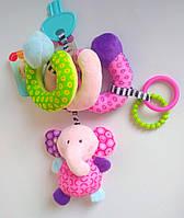 """Плюшевая растяжка-спиралька с развивающими элементами """"Слоненок"""",игрушки на коляску,кроватку"""