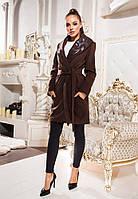 Пальто-кардиган кашемировое с эко кожей