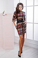Платье женское в клетку с поясом 21934