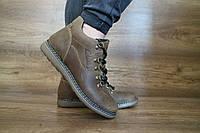 Мужские зимние ботинки с нат.кожи Yuves Оливка 10513 размеры: 40 41 42 43 44 45