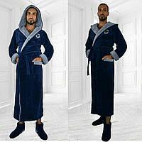 Длинный мужской махровый халат с двойным капюшоном турецкая пушистая махра Размеры 48-50, 50-52 52-54