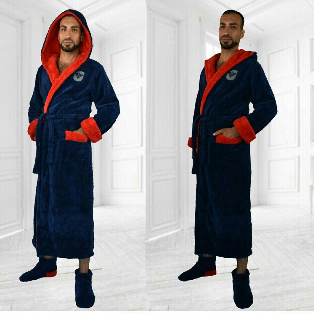 dbcdefdd1a2 Длинный мужской махровый халат с двойным капюшоном турецкая пушистая махра  Размеры 48-50