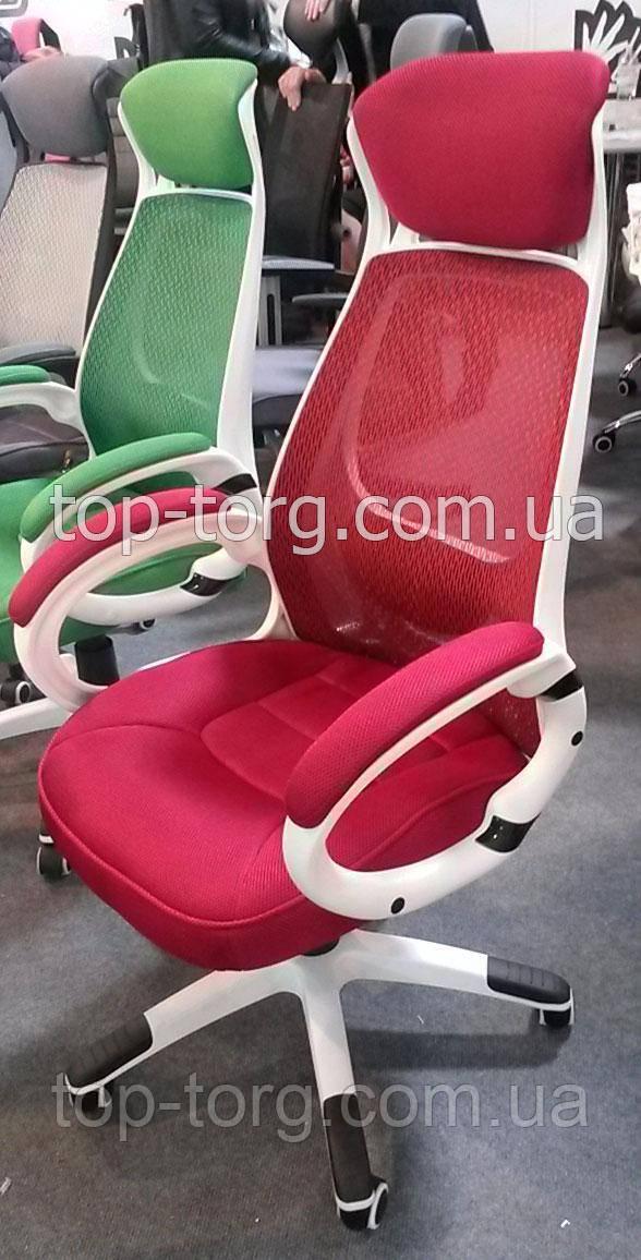 Крісло офісне, керівника Briz Red червоне з білим каркасом, корпусом