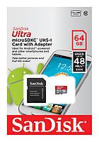 Карта памяти micro SDXC 64Gb SanDisk Ultra UHS-I 48MB/s (10 class) с адаптером SD