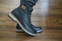Мужские зимние ботинки с нат.кожи Черные Б-25 10510 размеры: 40 41 42 43 44 45