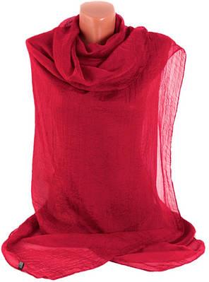 Женская тонкая прозрачная шаль-парео, шелк, 140х110 см, Trаum 2497-12, цвет красный.