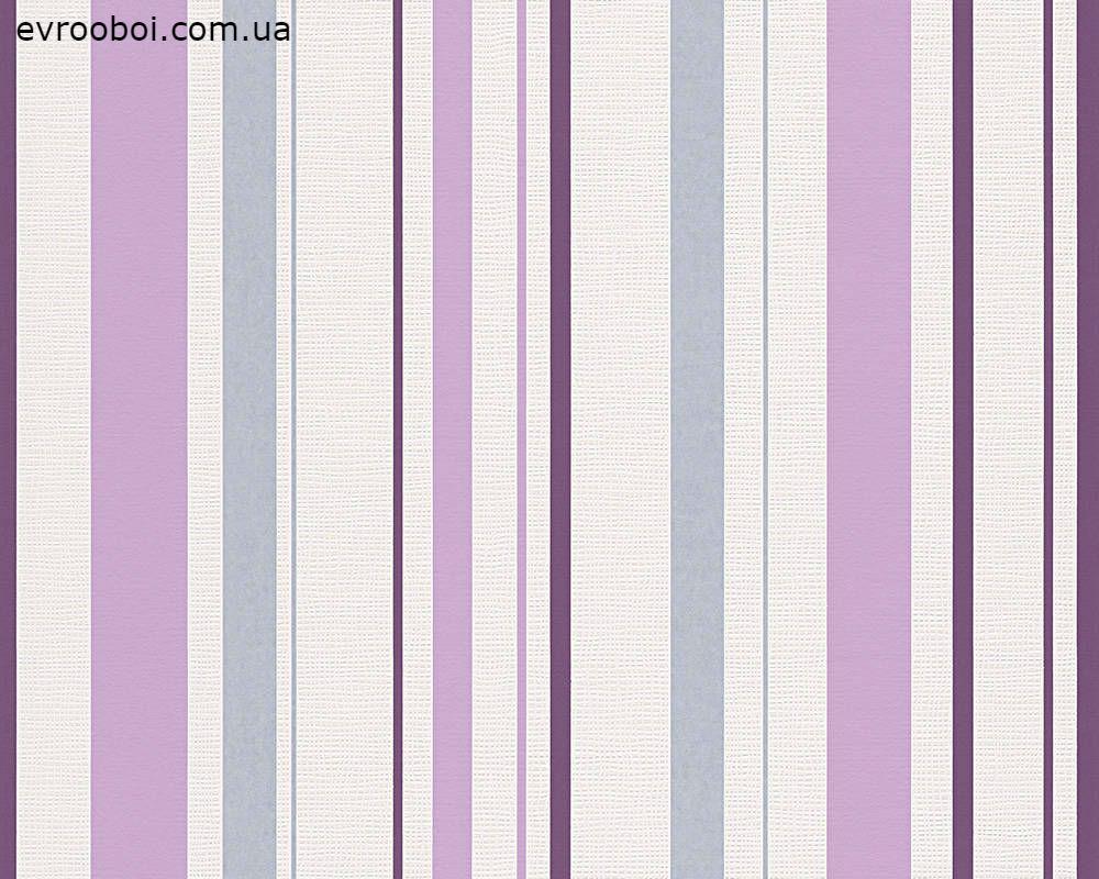 Обои в сиреневую и фиолетовую полоску, моющиеся 254924.
