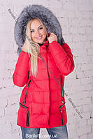 Тёплый модный женский пуховик недорого Peercat 17-025 Краный