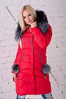 Длинны женский пуховик с натуральным мехом чернобурки Peercat 17-535 Красный
