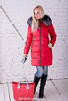 Модный женский пуховик с натуральным мехом чернобурки красный Peercat 17-598 Красный