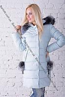 Стильный женский пуховик с натуральным мехом чернобурки Peercat 17-783 Ментол