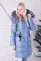 Модный длинный женский пуховик с натуральным мехом чернобурки Peercat 17-851 Джинс