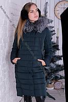 Длинный женский пуховик с натуральным мехом чернобурки зима 2018 Peercat 17-1721 Изумруд